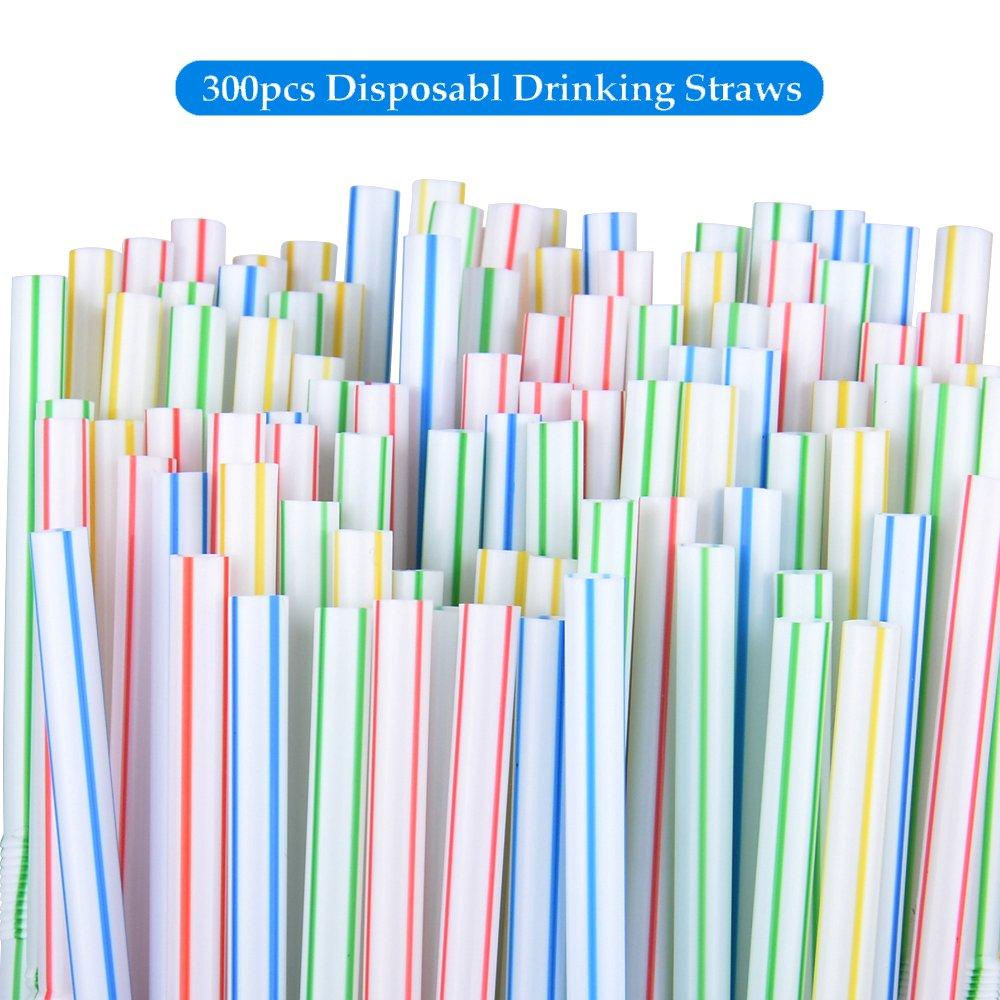 Olycism 300 PCS Pailles Flexible Plastique Jetables Multicolore Boisson Peut /être pli/é color/é