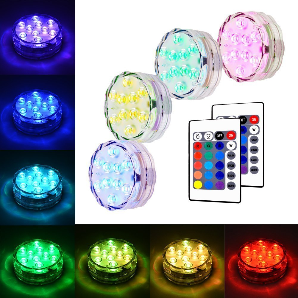 AKDSteel Submersible LED Light, RGB Multi Color Waterproof Battery Powered Lights with Remote Controller for Pool Fountain Vase Decoration Pond Garden Party Hot Tub Weeding - 4 Pack