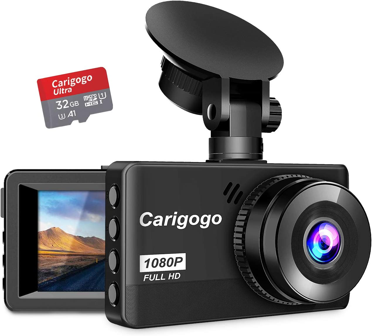Dash Cam with SD Card 32G Carigogo 1080P Full HD Dash Camera for Cars Recorder 3.2 Screen 170 Wide Angle, Night Vision, G-Sensor, WDR, Parking Monitor, Loop Recording, Motion Detection