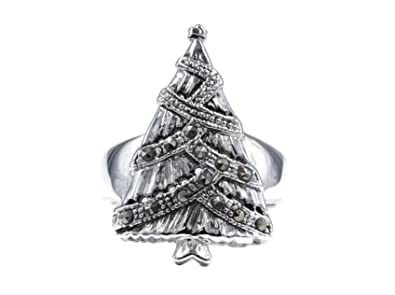glamour rings antique looking silvertone christmas tree fashion ring with garland of genuine marcasite size 7