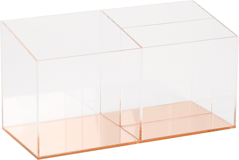 "C.R. Gibson Acrylic Desktop Organizer, Mirror Panel, Measures 9"" W x 4"" H x 4"" D - Rose Gold (SC2-20084)"