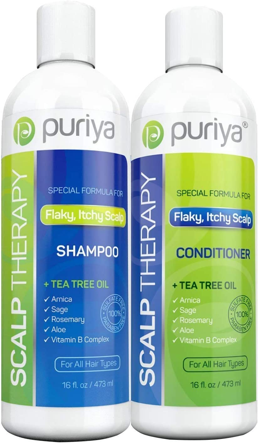 Puriya Tea Tree Oil Shampoo and Conditioner Set for Itchy, Flaky and Dry Scalp, Sulfate and Paraben Free