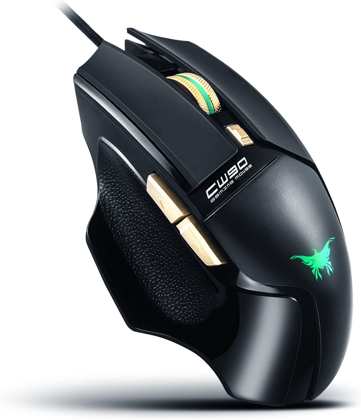 CW90 FPS USB Optical Gaming Mouse Wired PC Computer Laptop Mac Game Mice with Colorful LED, 4 DPI Adjustment Levels – Max 3800 DPI, 6 Buttons with Quick Thumb Switches, Ergonomic Slim Design Black
