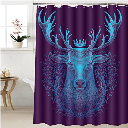 Gzhihine Shower Curtain Deer Head Graphic Illustration Of A Whitetail With Crown And Old