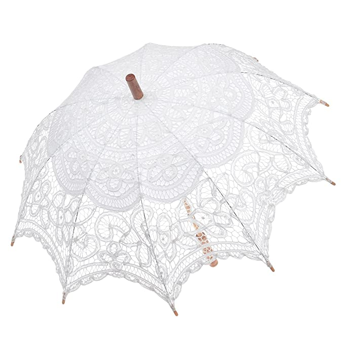 Vintage Style Parasols and Umbrellas Remedios Wedding Bridal Lace Sun Parasol Umbrella Photo Props Decoration $21.99 AT vintagedancer.com