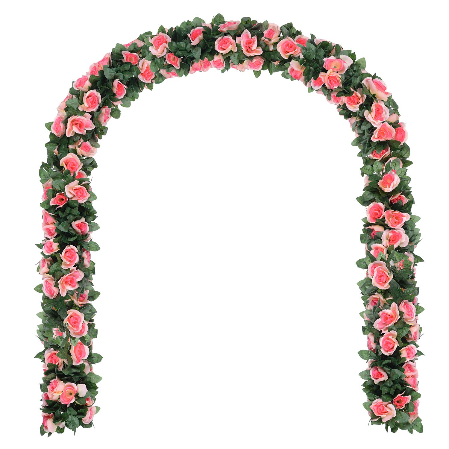 GreenDec Artificial Fake Rose Vine Garland Artificial Flowers plants for Hotel Wedding Home Party Garden Craft Art Decor (Champagne, 2 Pack)