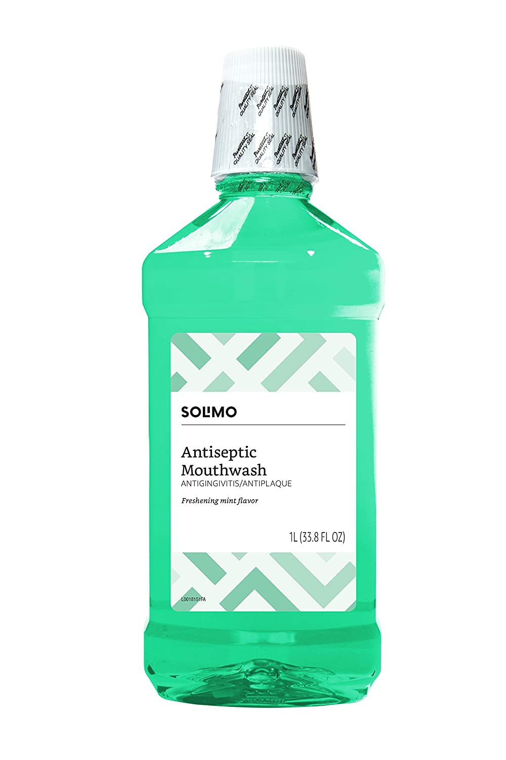 Amazon Brand - Solimo Antiseptic Mouthwash, Mint Flavor, 33.8 Fl Oz (Pack of 1)