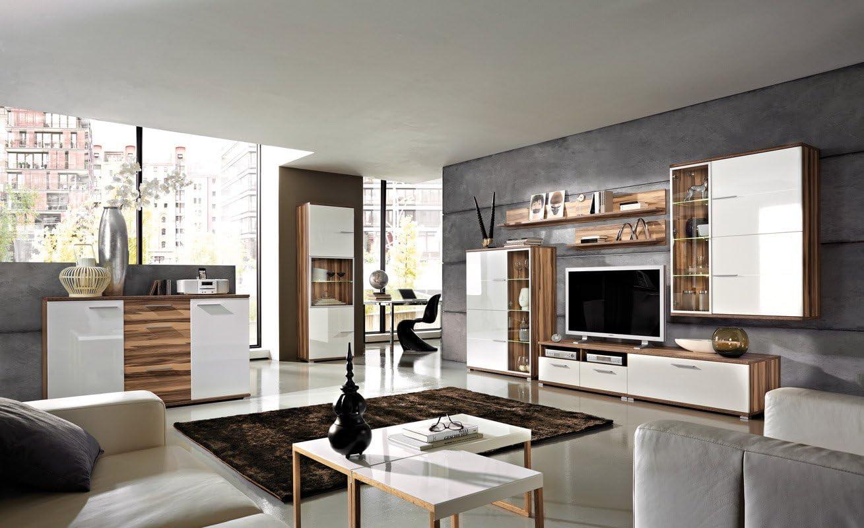 Wohnzimmermöbel komplett Baltimore-Walnuss/weiß Marek: Amazon.de