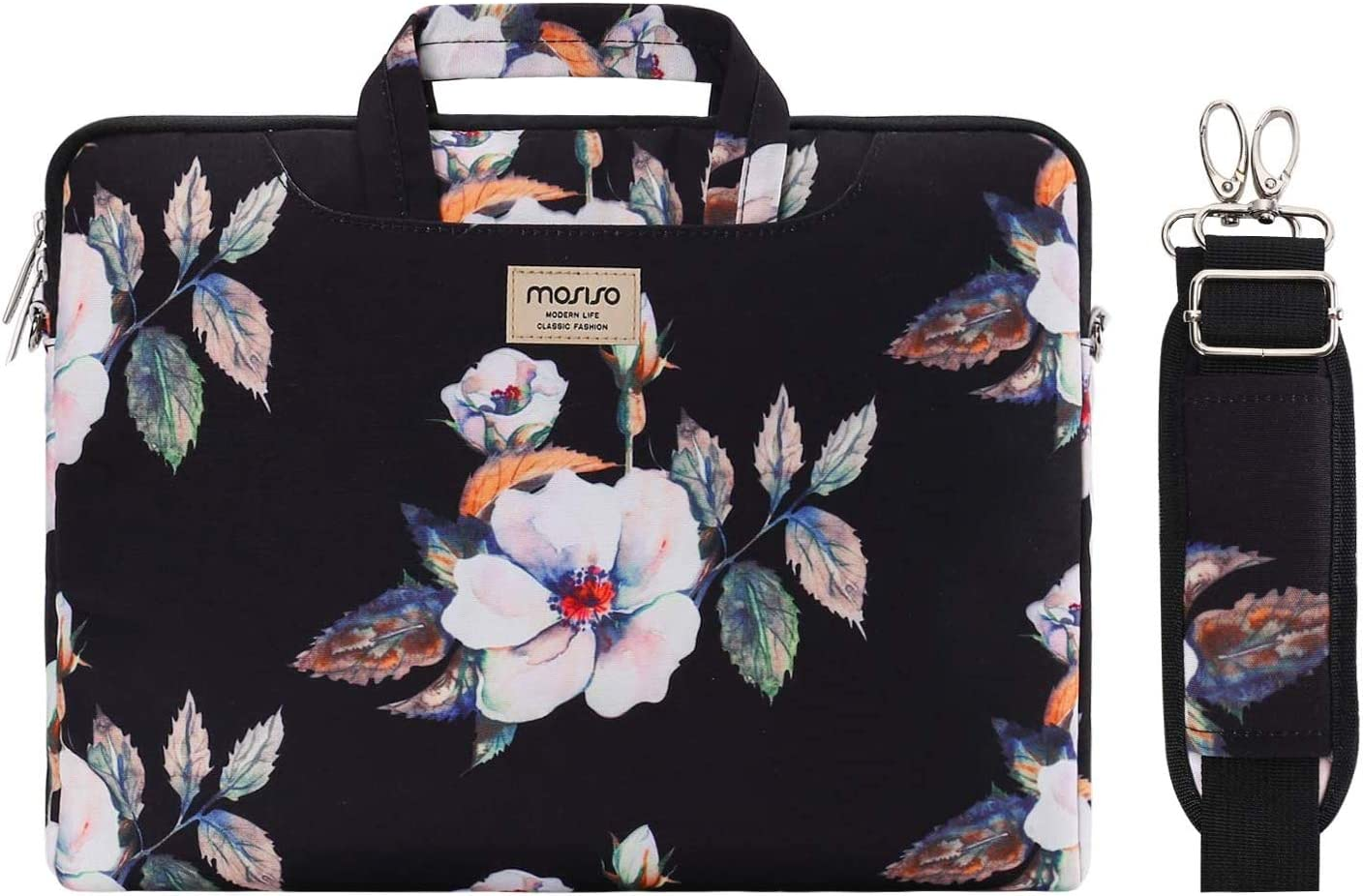 MOSISO Laptop Shoulder Bag Compatible with MacBook Pro 16 inch A2141/Pro Retina A1398, 15-15.6 inch Notebook, Hibiscus Carrying Briefcase Sleeve Case with Trolley Belt