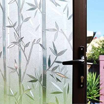 Awesome Mikomer Static Cling Window Film Privacy Door Film Decorative Glass Film Bamboo Removable Stained Glass Anti Uv For Home And Office Decoration 17 5In Home Interior And Landscaping Pimpapssignezvosmurscom