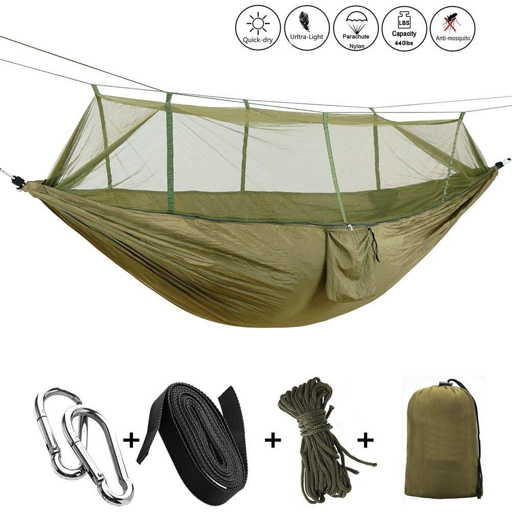 Camping Hamaca FYHAP doble Portable Nylon Hammock peso ligero Tela de paracaídas
