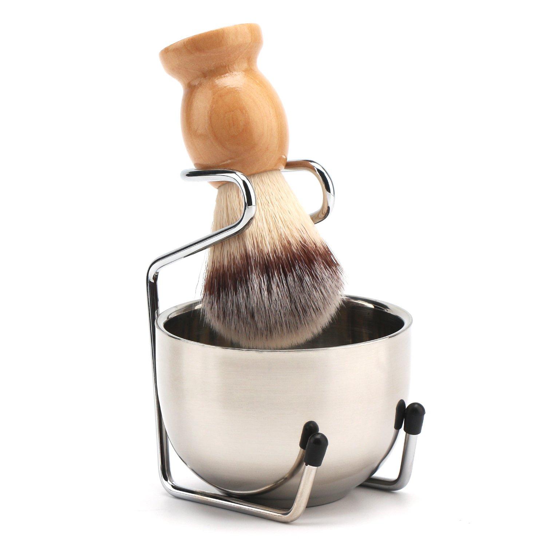 Segbeauty Shaving Brush, Stainless Steel Beard Shaving Soap Bowl, Shave Cream Mug and Stand Holder, Beard Cleaning Wet Shave Lather Bowl Men's Grooming Kit Seg-Beauty