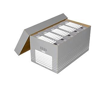 Elba Tric 83427 - Caja para guardar cajones archivadores (cartón, 5 unidades), color gris y blanco: Amazon.es: Oficina y papelería