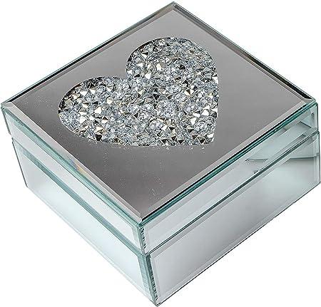 dekojohnson Joyero Moderno de Cristal de Espejo con corazón de Piedras de Cristal, joyero, joyero, joyero, joyero, joyero, Caja de cosméticos, 14 x 14 cm: Amazon.es: Hogar