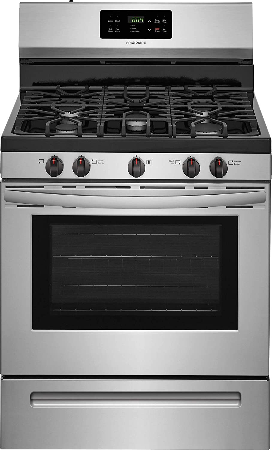 Frigidaire FFGF3054TS 30 Inch Gas Freestanding Range with 5 Sealed Burner Cooktop, 5 cu. ft. Primary Oven Capacity, in Stainless Steel (Certified Refurbished)