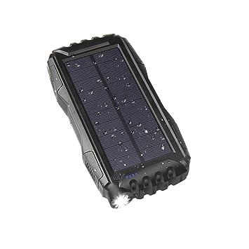WBPINE Cargador Solar Portátil con 25000mAh, Batería Externa 2 Puertos de USB Panel Solar con Alta Eficiencia de Conversión Impermeable Inteligente ...