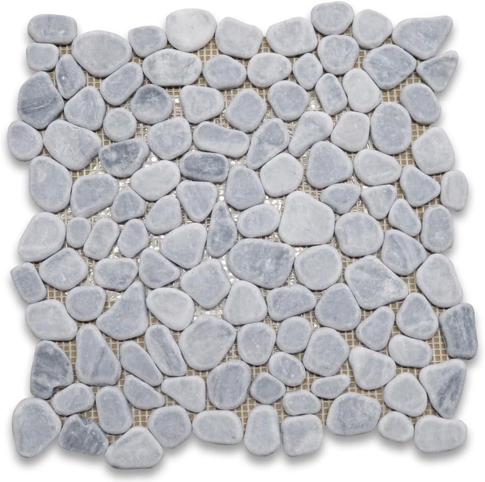 Athens Silver Cream Haisa Light Marble Pebble Mosaic Tile River Rocks Tumbled Non Slip Shower Floor Tile