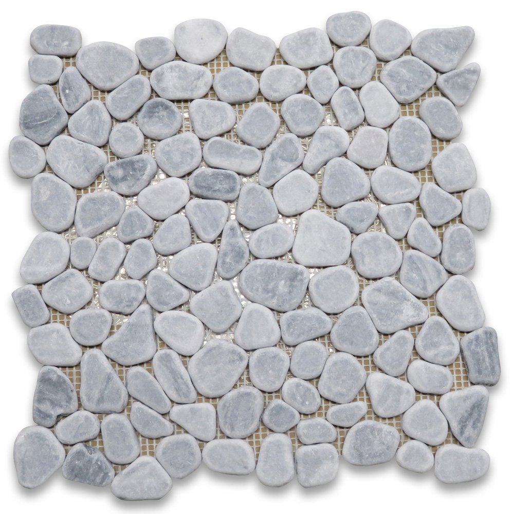 Bardiglio Gray Italian Dark Grey Marble River Rocks Pebble Mosaic Tile Tumbled
