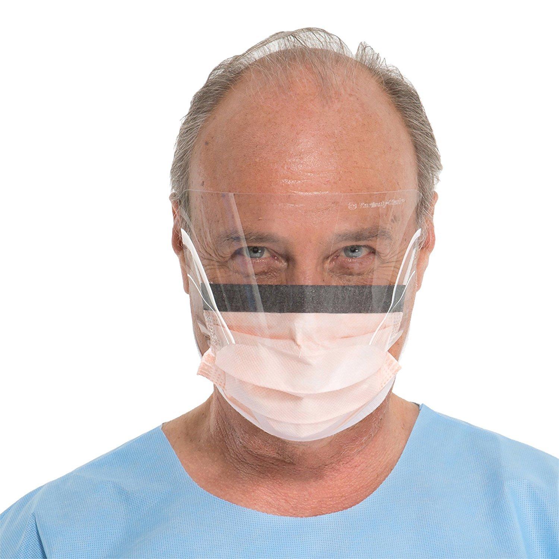 Kimberly-Clark Fluidshield Face Mask (47137), Orange Pleated Procedure Mask with Clear Splashguard Visor, Earloops, Fog-Free, 25 / Box (3 BOXES)
