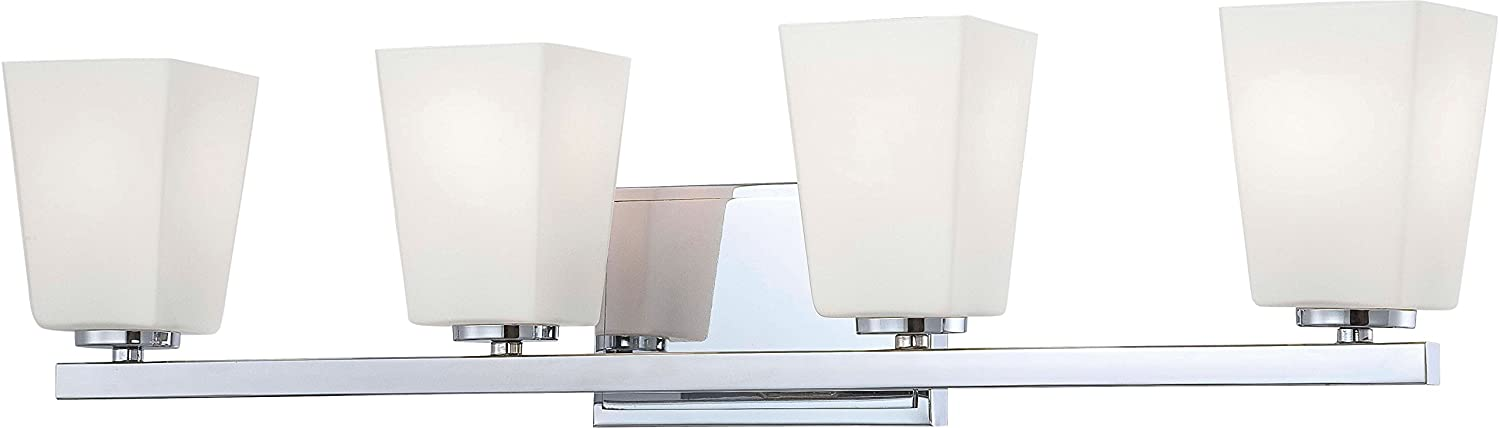 Minka Lavery Wall Light Fixtures 6544-77 City Square Reversible Glass Bath Vanity Lighting, 4 Light, 400 Watts, Chrome