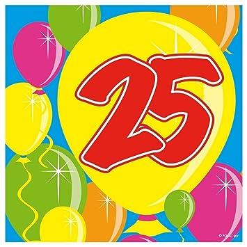 20 Servilletas 25 Cumpleaños, aniversario: Amazon.es ...