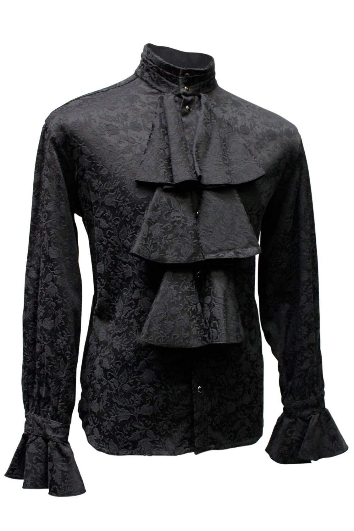 Shrine Men's Formal Victorian Gothic Steampunk Pirate Louis XIV Shirt Black Jacquard (XL) by Shrine Of Hollywood