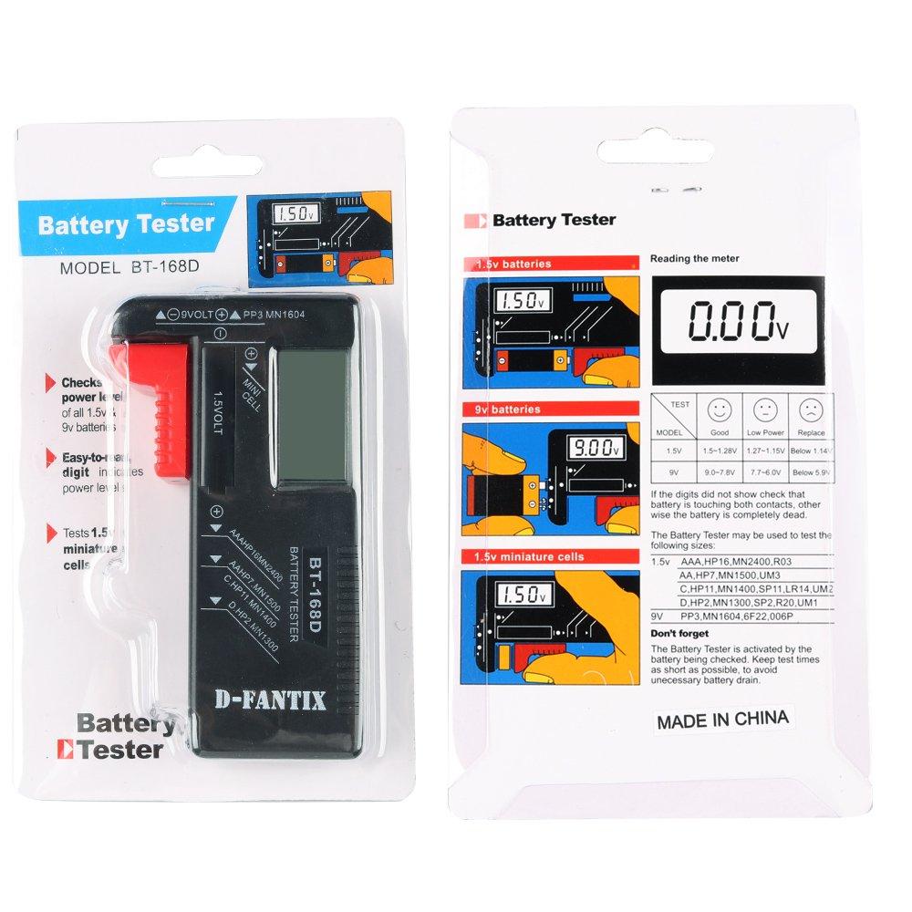 contr/ôleur de tension de batterie pour AA AAA C D 9V Batteries /à cl/é /à cl/é 1.5V mod/èle: BT-168 D-FantiX Testeur de Piles Universel