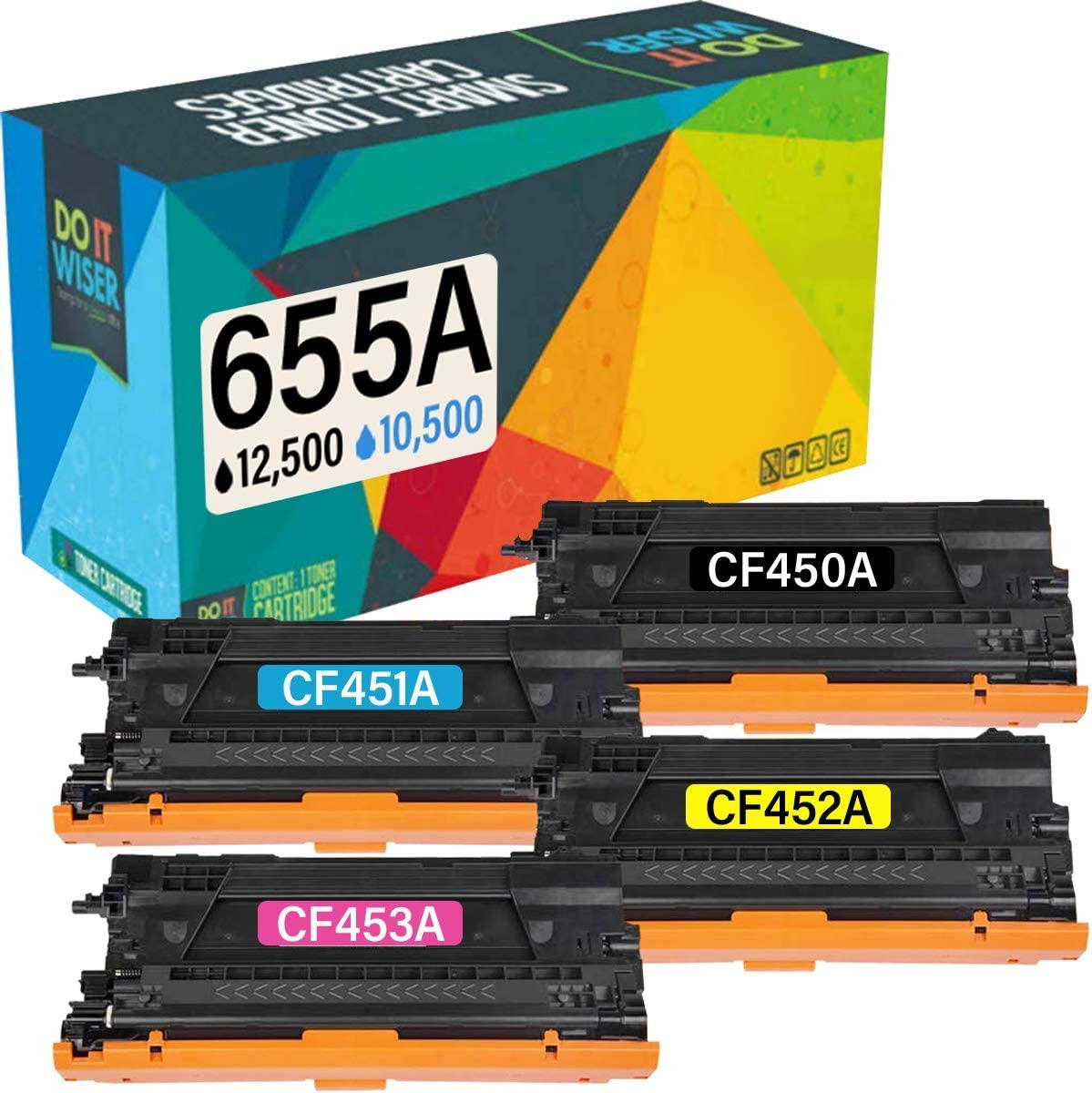 Do it Wiser Compatible Toner Cartridge Replacement for HP CF450A 655A Color Laserjet M652n M652dn M653dn M653x M653dh MFP M681dh M682z M681f M681z (4-Pack)