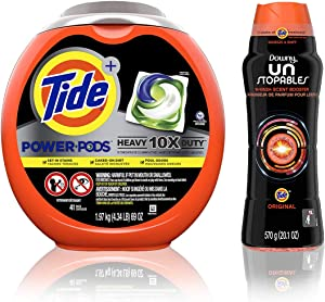 Tide Power PODS Laundry Detergent Liquid Pacs, 10X Heavy Duty for Impossible Stains with Downy Unstopables in-Wash Scent Booster Beads with Tide Original Scent