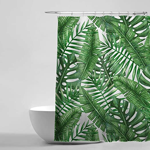 Tropical Plants Banana Leaves Bathroom Curtains, 100% Waterproof ...