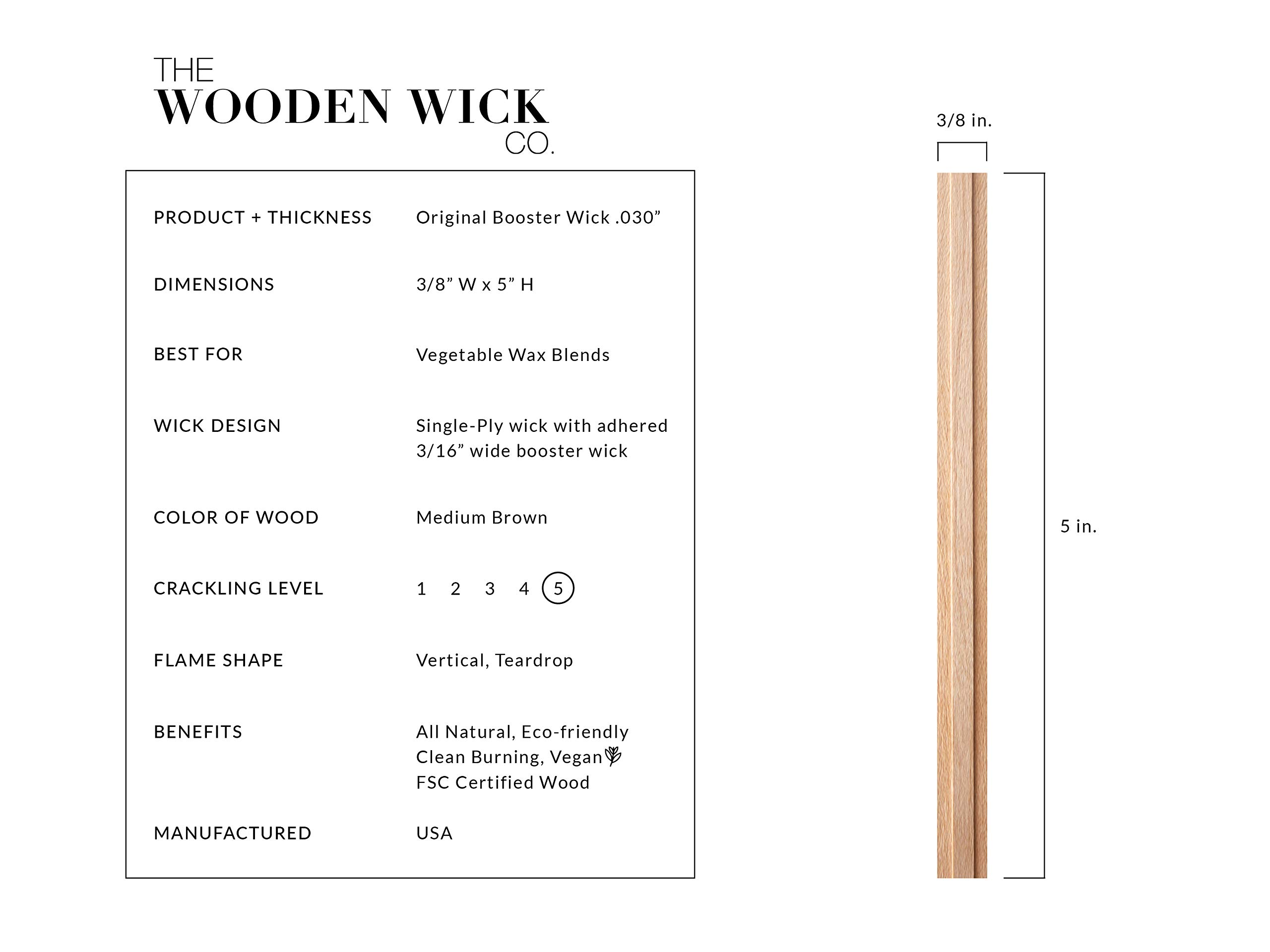 Wooden Candle Wick for Vegetable Blended Wax Candles with Jar Diameter 2.5-3 inches by Wooden Wick Co. | 5 Inch Crackling Wood Wick Candle Making Supplies with Metal Stand''Original Booster Wick'' by Wooden Wick Co. (Image #2)