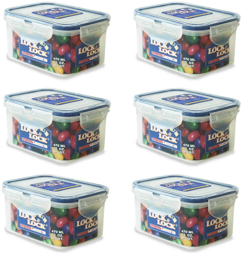 470ml Rectangular Food Container [Set of 6] Lock & Lock HPL807SET