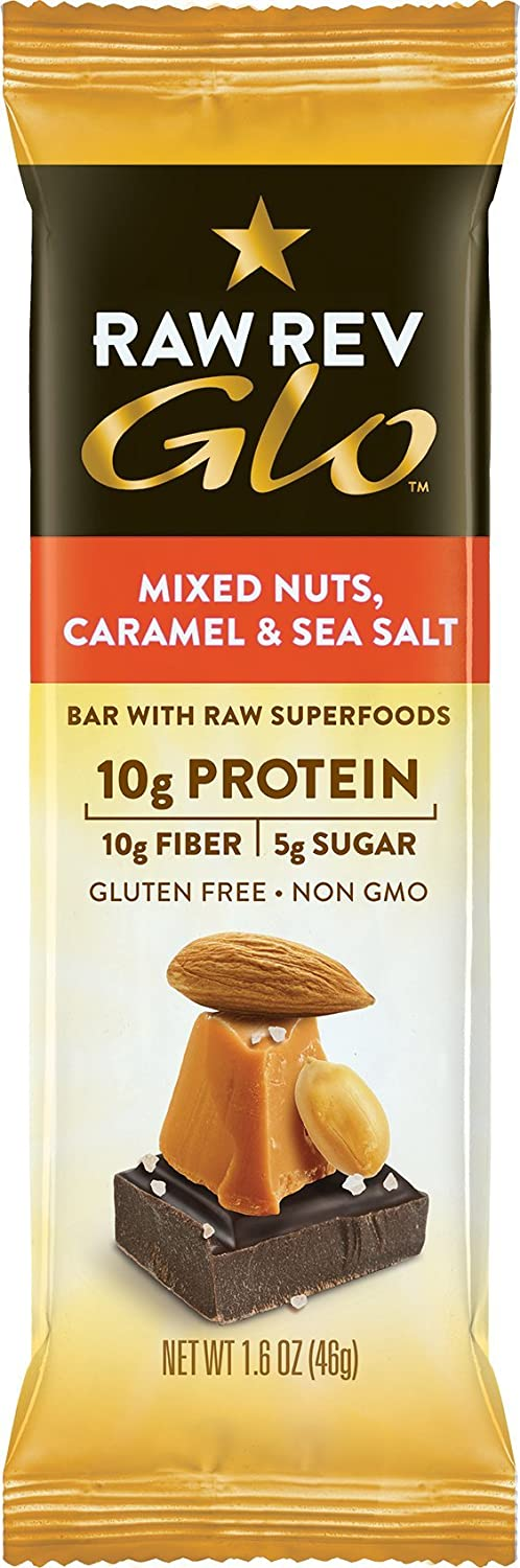 Amazon.com : Raw Rev Glo Vegan, Gluten-Free Protein Bars - Mixed Nuts Caramel & Sea Salt 1.6 ounce (Pack of 12) : Grocery & Gourmet Food