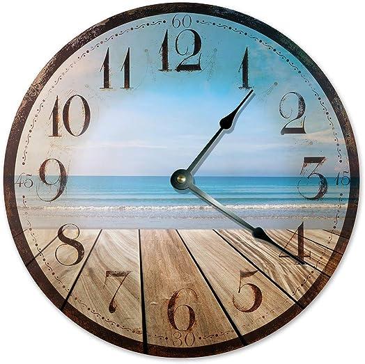 Sugar Vine Art Beach Clock Rustic Beachy Look Large 10.5 Wall Clock Decorative Round Wall Clock Home Decor Novelty Clock Deck ON The Ocean Beach