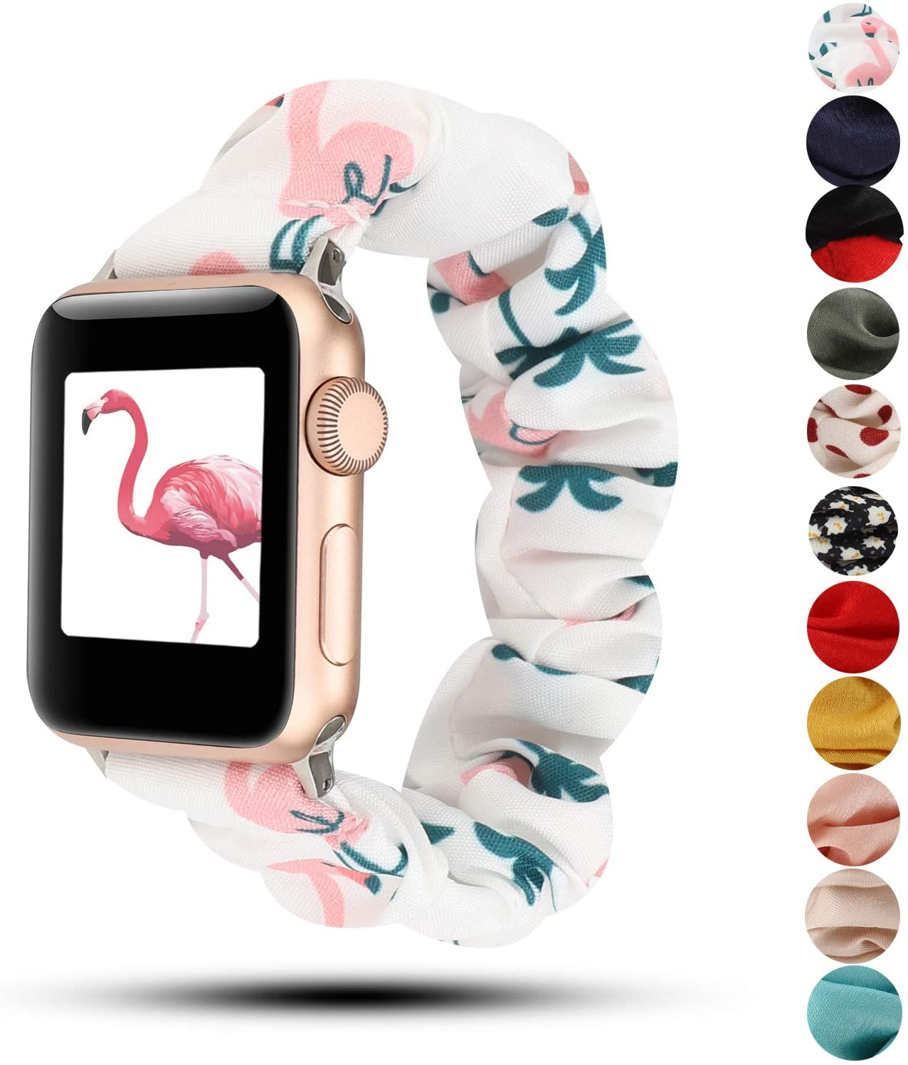 Women Scrunchie Bands Compatible for Apple Watch Band 38mm 40mm 42mm 44mm,Cute Pattern Printed Bracelet Replacement Wristbands for iWatch Series 5 4 3 2 1 (Flaminggo, 38/40mm)