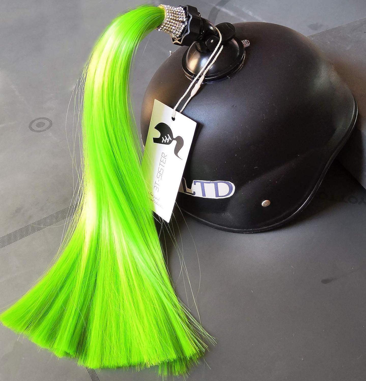 3T-SISTER Kristall Helm Pigtails 14 Zoll Schwarz und pink Helm Pferdeschwanz Dekoration f/ür Motorrad Fahrrad Ski Helm Zubeh/ör wiederverwendbare Saugnapf
