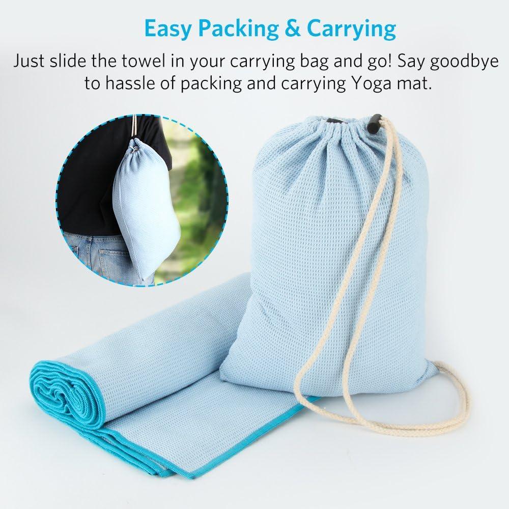 Couverture de Yoga Chaud Serviettes de Tapis de Yoga en Microfibre Sans Glissement avec Sac de Voyage 190 x 68 cm Bleu Claire