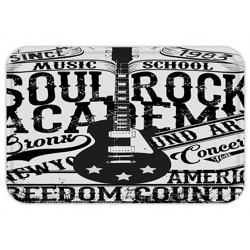 VROSELV Custom Door MatRetro Soul Rock Academy Theme Music School Electric Guitar Freedom Poster Like Image Beige and Black
