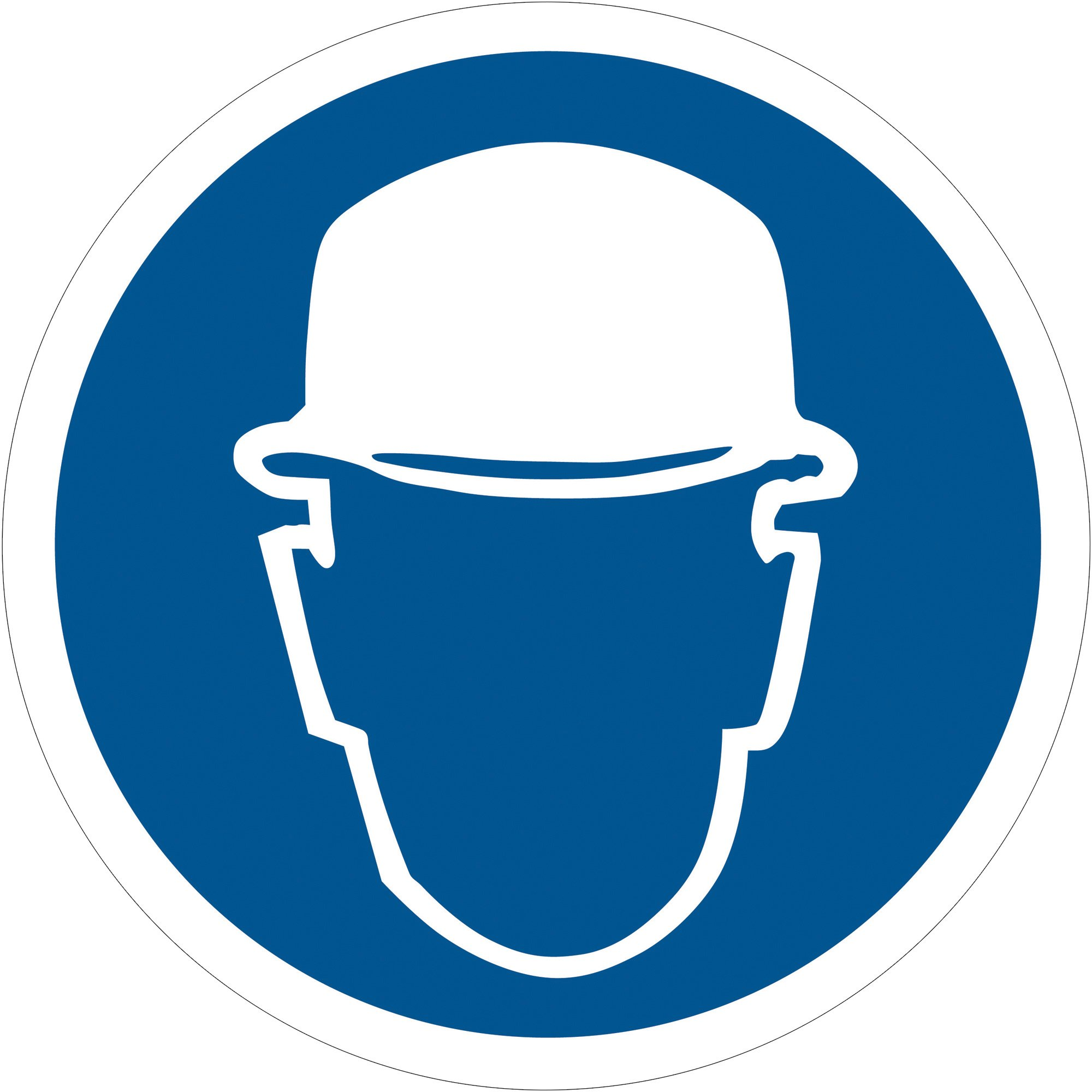 BOX USA BDSL512 Tape Logic Wear Head Protection Durable Safety Label, 2'' Circle, Blue/White (1 Roll of 25)