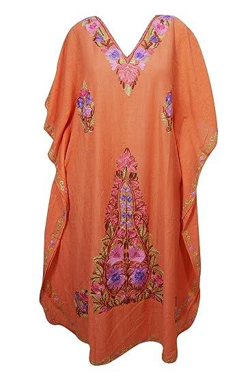 e51bb07ed2 Mogul Interior Women Kaftan Long Maxi Dress Orange Embellished Caftan One  Size: Amazon.co.uk: Clothing