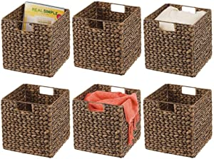 mDesign Natural Woven Hyacinth Closet Storage Organizer Basket Bin - Collapsible - for Cube Furniture Shelving in Closet, Bedroom, Bathroom, Entryway, Office - 6 Pack - Brown Wash