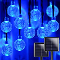 Blue 2-Pack 100 LED 32FT Crystal Globe Solar String Lights Outdoor, Waterproof Solar Lights Outdoor Decorative with 8…