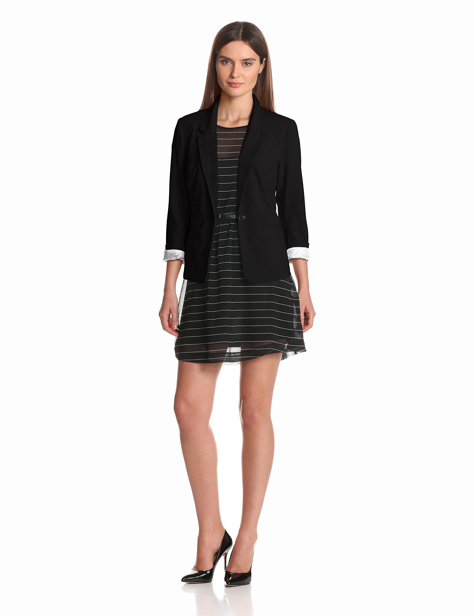 kensie Women's Stretch Crepe Blazer, Black, Small