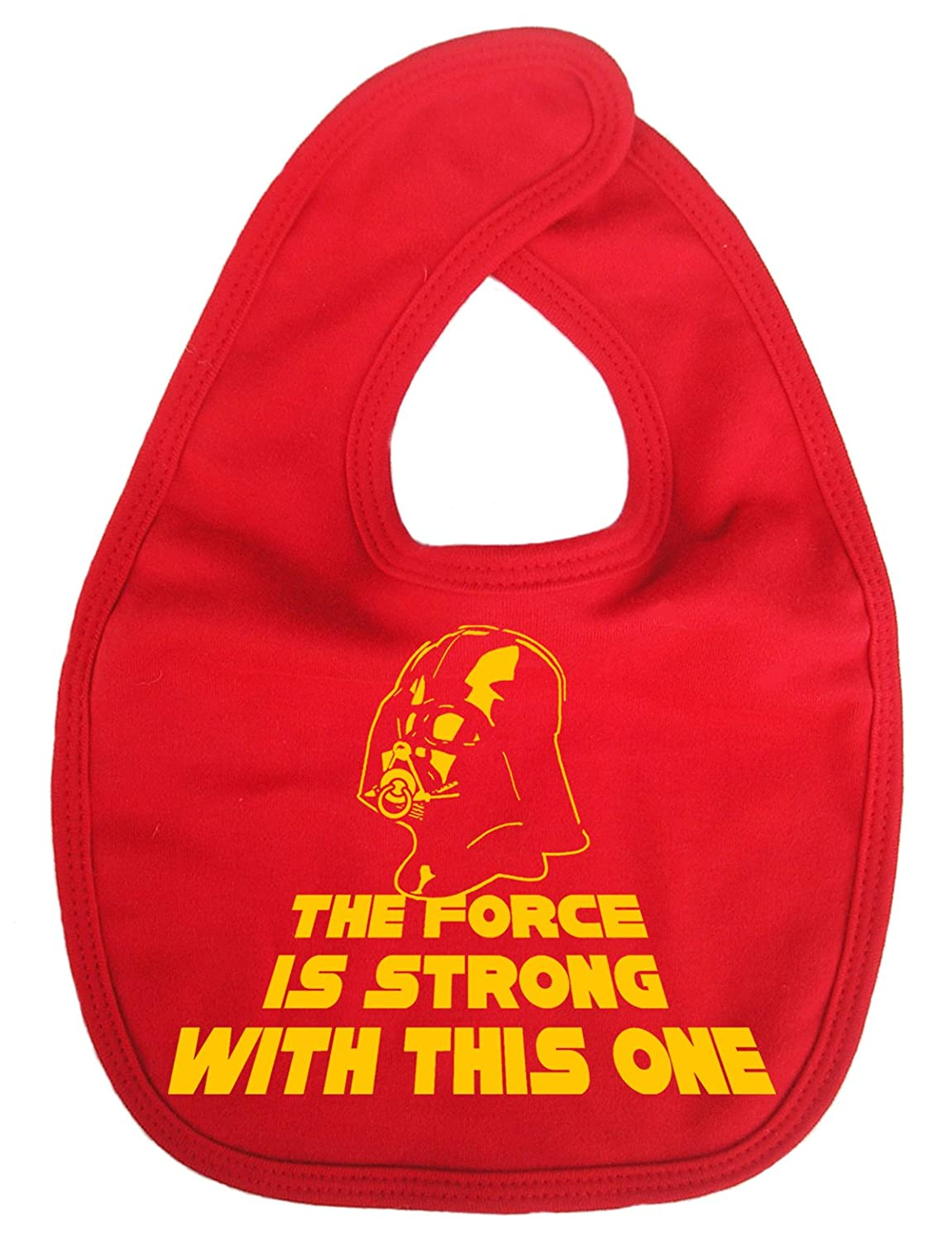 Dirty Fingers, The Force is strong with this one, Darth Vadar, Baby Unisex Bib, Black DFBIBforceisstrongK