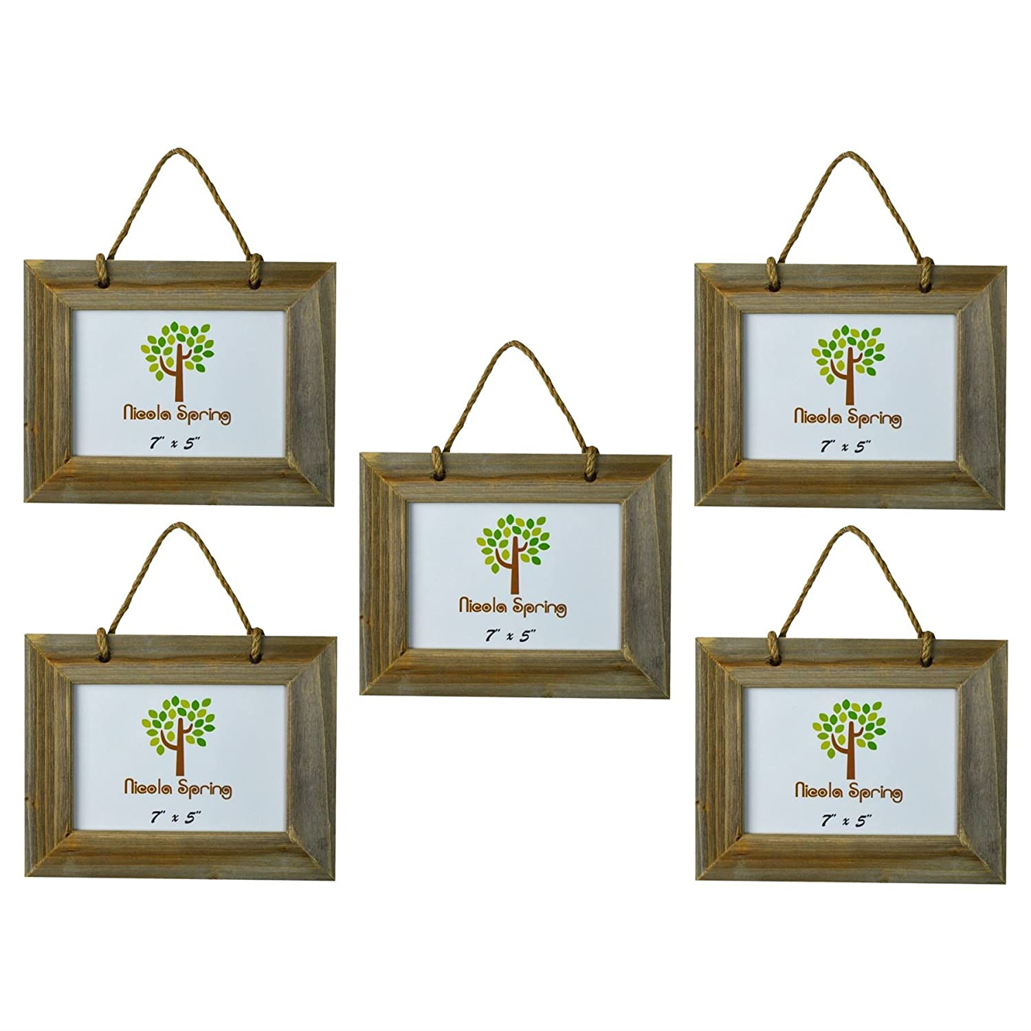 Nicola Spring Wooden Hanging Photo Picture Frame - 7 x 5 - Pack Of 5