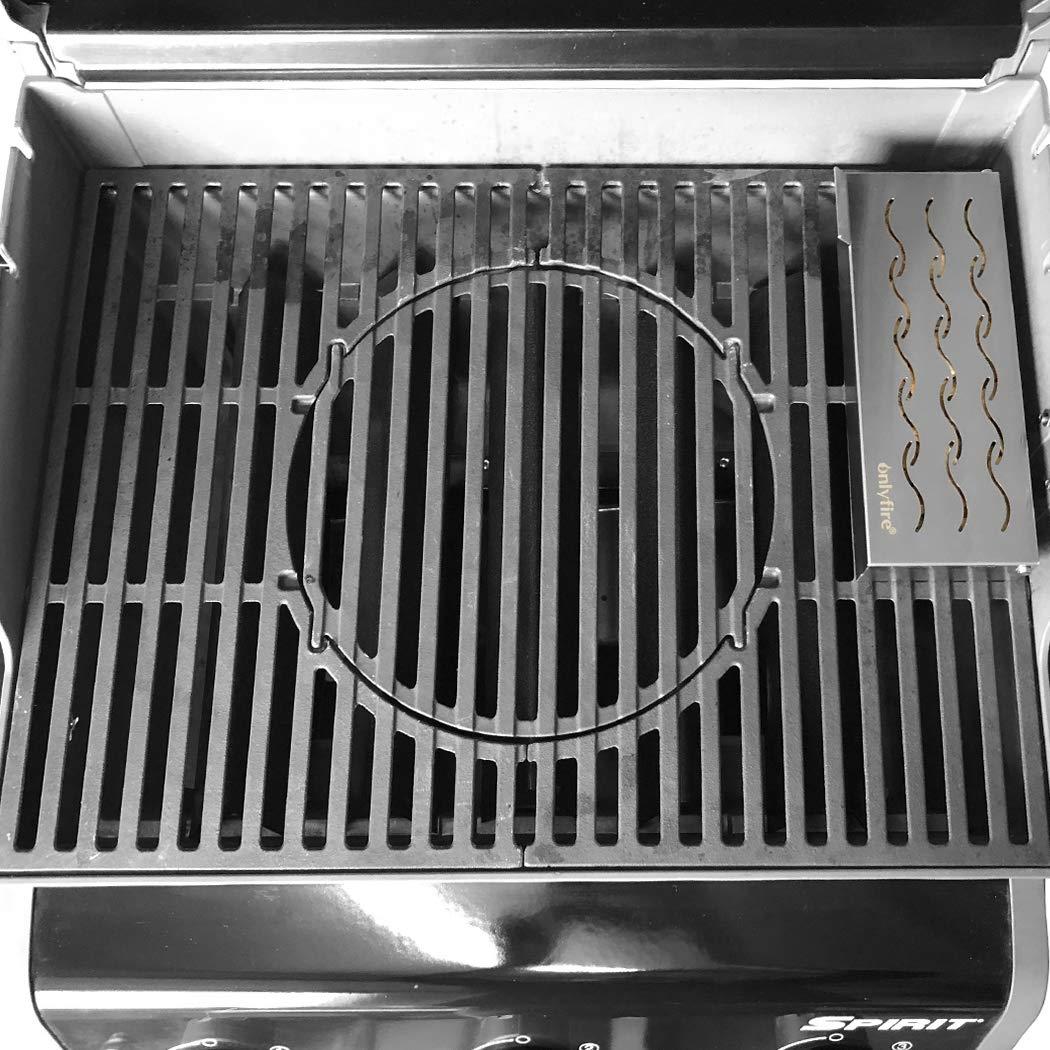 Universal Edelstahl BBQ Wood Chips Fleischrauchen mit Klappdeckel f/ür Gasgrill Holzkohlegrill Aromabox onlyfire FPA-5115 Smoker R/äucherbox