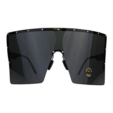 19e38f9a75c Polarized Extra Large Face Mask Futuristic Shield Sunglasses All Black