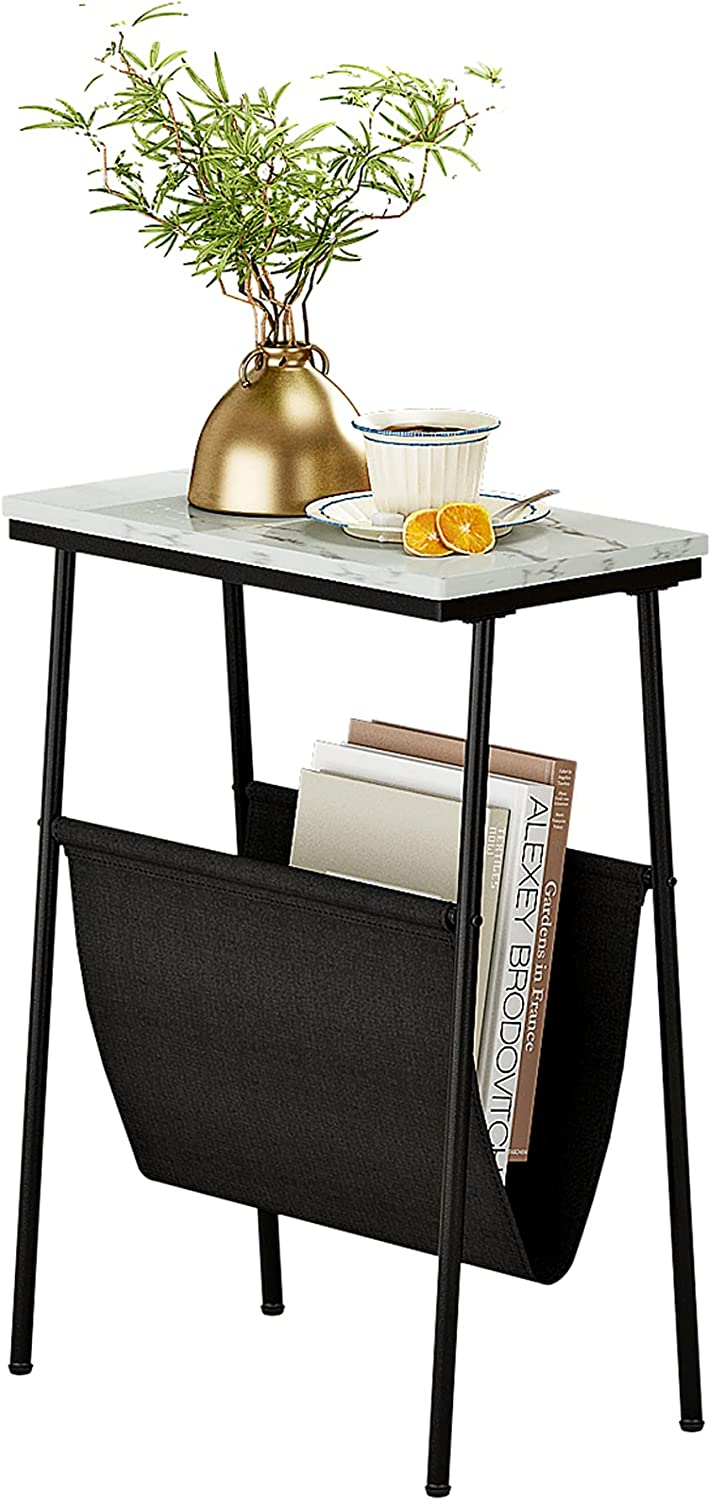 Function Home Side Table,Narrow End Table with Magazine Holder Sling, Sofa Beside Table for Coffee Snack in White