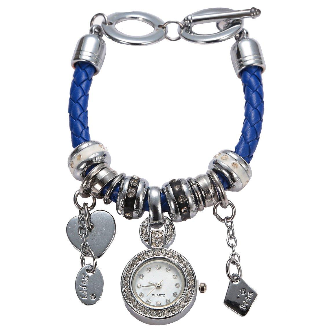 Soulvin Women Retro Love Heart Pendant Charm Rhinestones Weave Belt Bracelet Watch Blue