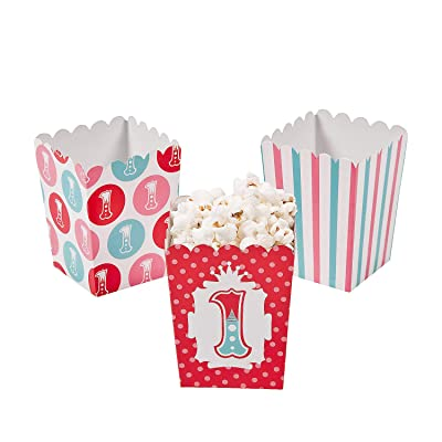 Fun Express - Mini 1st Circus Popcorn Boxes (24pc) for Birthday - Party Supplies - Containers & Boxes - Paper Boxes - Birthday - 24 Pieces: Toys & Games